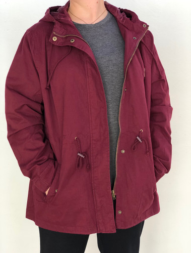 Plus Size Hooded Anorak Jacket- Burgundy