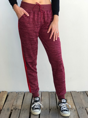 Fleece Jogger- Burgundy With Red Stripes