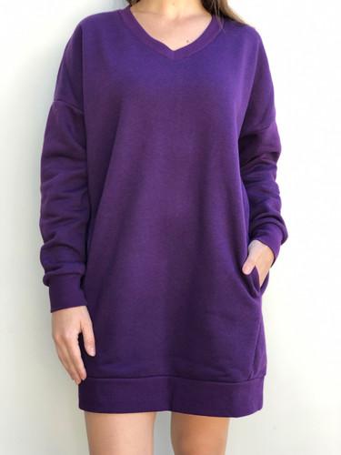 Plus Size Long Sleeve Sweater- Purple