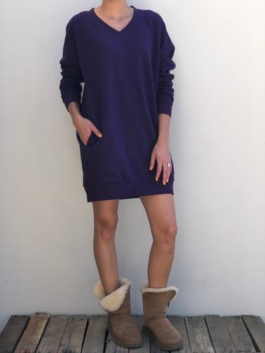 Plus Size Long Sleeve Sweater- Dark Purple