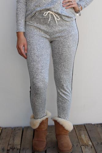 Plus Size Side Stripe Jogger- Heather Grey