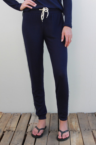 Plus Size Side Stripe Jogger- Navy