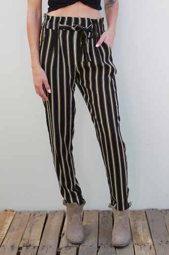 Pants- Black With Gold Stripes