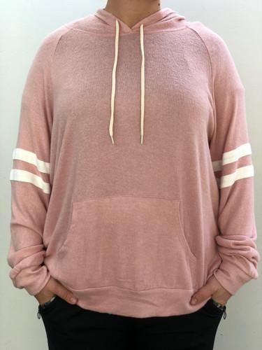 Plus Size Striped Hoodie- Blush