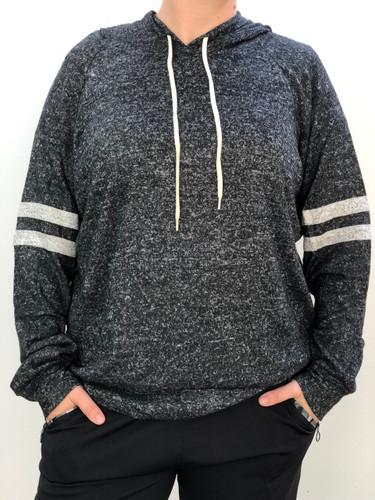 Plus Size Striped Hoodie- Black