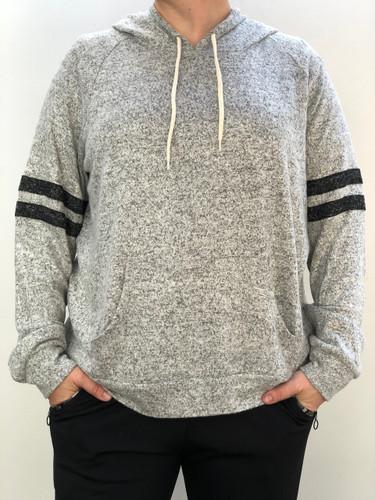 Plus Size Striped Hoodie- Heather Grey