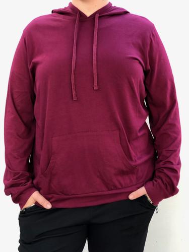 Plus Size Long Sleeve Pullover Hoodie- Burgundy