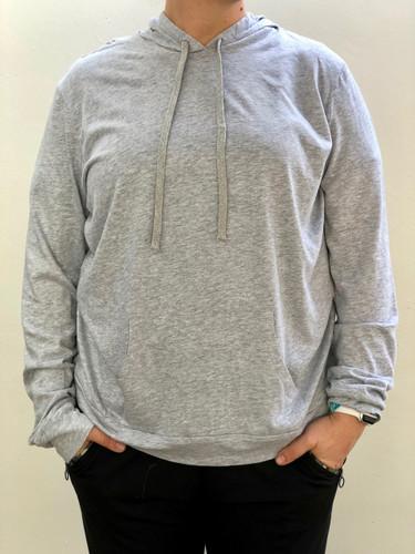 Plus Size Long Sleeve Pullover Hoodie- Heather Grey