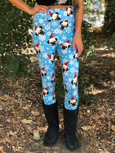 Plus Size Sublimation Yoga Waistband- Santa Pug