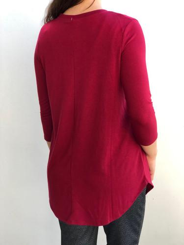 Plus Size 3/4 Sleeve Round Neck- Cabernet