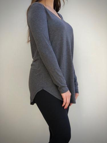 Plus Size Long Sleeve V-Neck- Charcoal