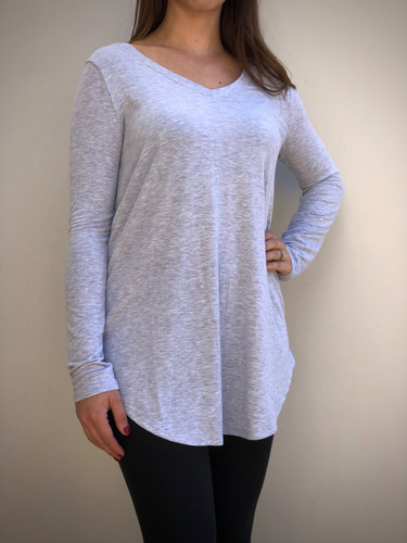 Plus Size Long Sleeve V-Neck- Heather Grey