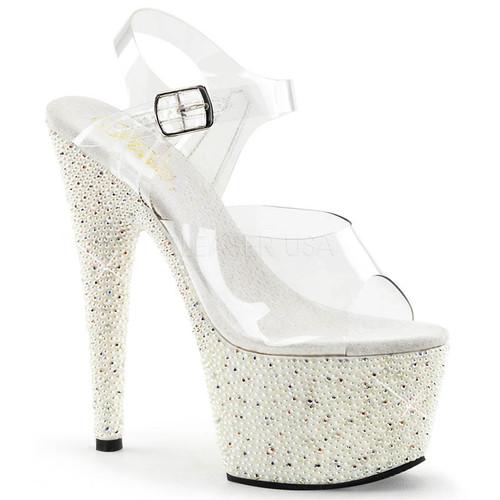 Pleaser | Starsplash Ankle 709, Ankle Starsplash Strap Sandal with Stars on Platform 3f32f6