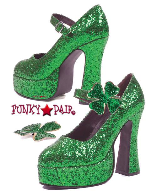 557-Lucky, 5 Inch Chunky Heel Glitter Maryjane,COSTUME SHOES