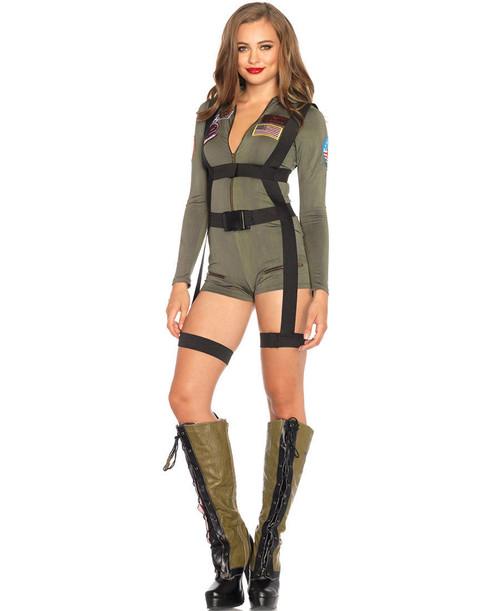 Leg Avenue | LA-TG85490 Sexy Top Gun Romper Romper Costume  sc 1 st  FunkyPair & Sexy Army Costume - Army Girl Costumes - Sexy Navy Costume