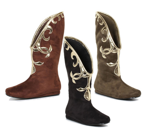 Flat boots with gold trim design