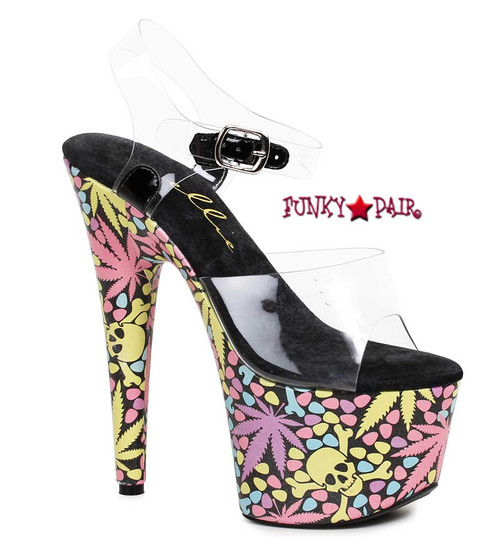 709-Haze, 7 Inch High Heel with Leaf and Skull