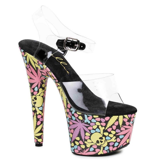 "Ellie Shoes | 709-Haze 7"" Dancer Leaf and Skull Shoes"