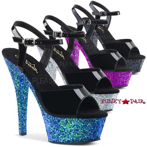 Kiss-209LG, 6 Inch Ankle Strap Sandal with Glitter Platform