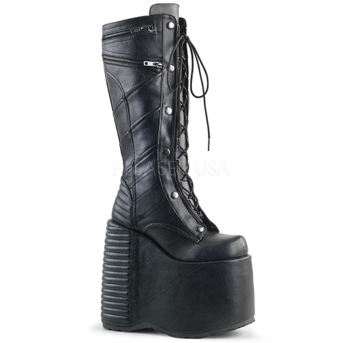 Slay-320, 7 Inch Platform Lace-up Front Knee High Boot