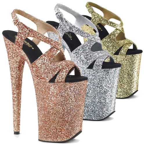 Infinity-930LG, 9 Inch High Heel Glitter Slingback Platform Sandal Color available: Rose Gold, Gold, Silver