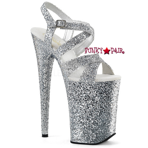 Infinity-997LG, 9 Inch High Heel Criss Cross Glitter Strap Sandal