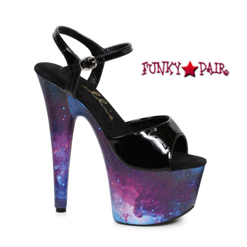 709-Orion, 7 Inch Stiletto Heel Ankle Strap Sandal with Cosmo Print