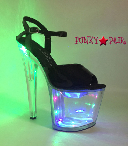 821-Londyn, 8 Inch High Heel Lite up Platform Sandal