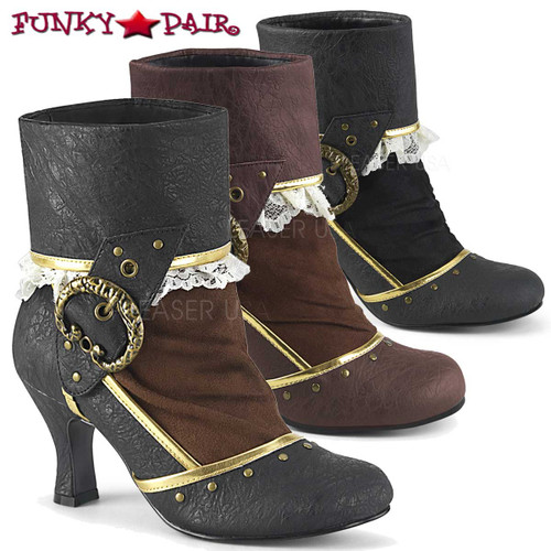 Funtasma | Matey-115, Lace-Lined Cuffed Ankle Boots color available: black, brown and black/Brown faux leather