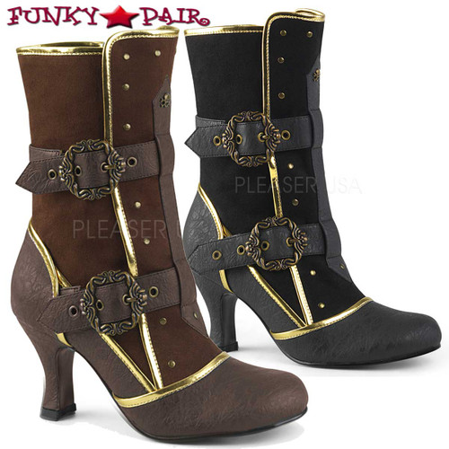 Funtasma | Matey-205, Ankle Boots with Octopus Buckle Straps color available: black faux leather and brown faux leather