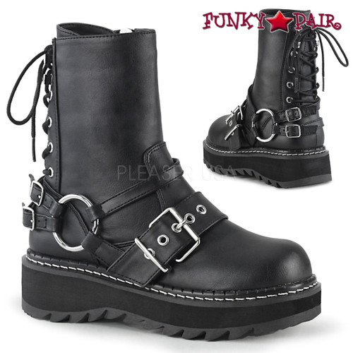 Womens Demonia Lilith  Rear Lace Up Ankle Boots
