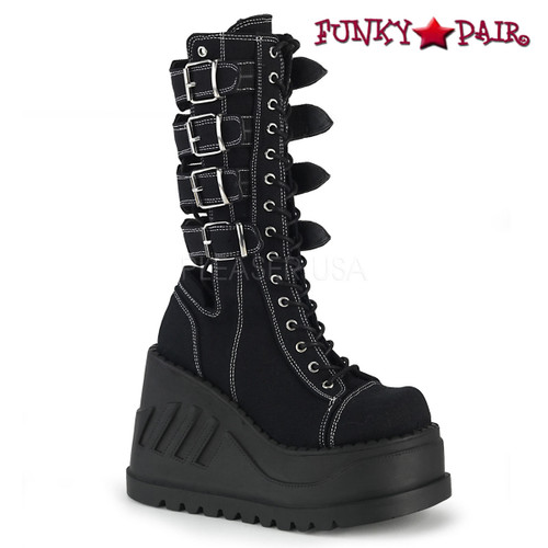 Womens Demonia Boots Stomp  Platform Wedge With Buckles