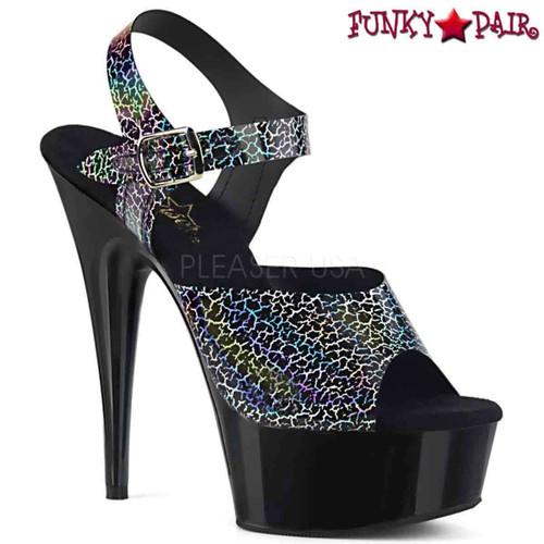 Pleaser | Delight-608N-CK, Cracker Holographic Print Ankle Strap Sandal color black