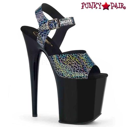 Pleaser | Flamingo-808N-CK, Ankle Strap Platform Sandal with Cracker Hologram color black