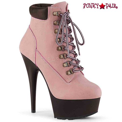 Pleaser USA | Delight-600TL-02, Lace-up Bootie color baby pink