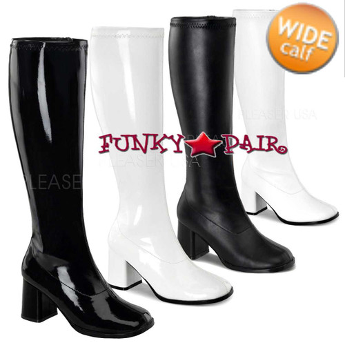Wide Calf Go Go Boots GOGO-300WC available color: Black Patent, Black Faux Leather, White Patent, White Faux Leather. Size Range From : 6-16