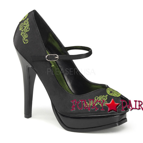 Pin Up Couture   Pleasure 12, Peep Toe Pump Detail with Embroidery Detail Pump f03525