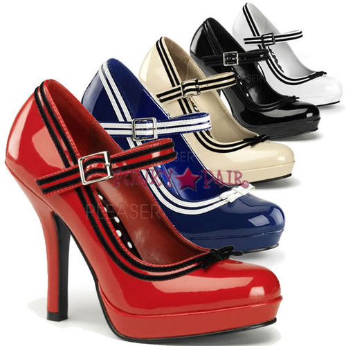 Secret-15, 4.5 Inch High Heel with 1/2 Inch Platform Mary Jane with Velvet Trim Made By Pinup Couture