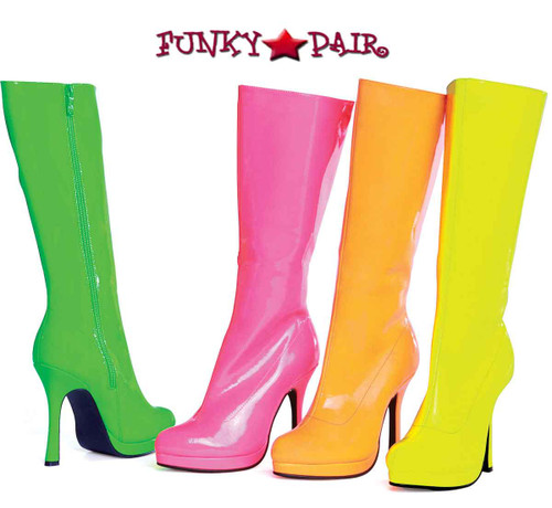 421-ZENITH, 4 Inch High Heel Neon Knee High Boots