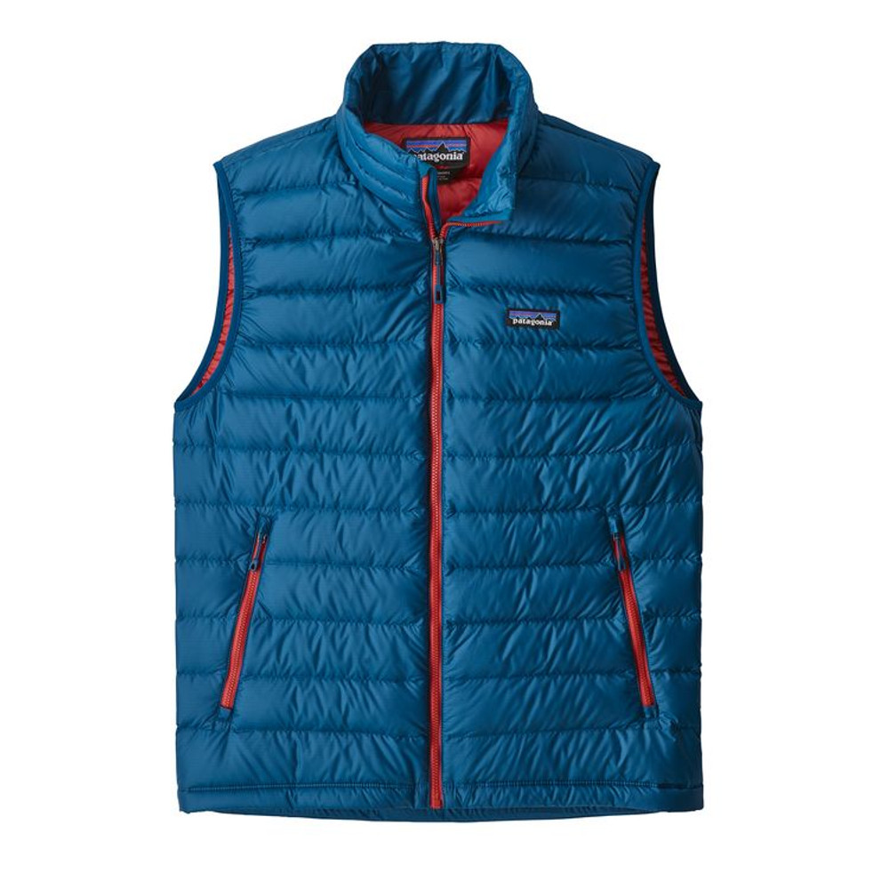 M's Down Sweater Vest Big Sur Blue w/Fire Red