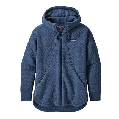 W's Organic Cotton Quilt Hoody Stone Blue