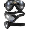 Gun metal frame, black leather, silver mirror lenses