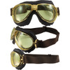 Gold metal frame, brown leather, yellow lenses