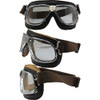 Chrome frame Brown leather Clear lenses
