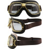 Gold frame Brown leather Clear lenses