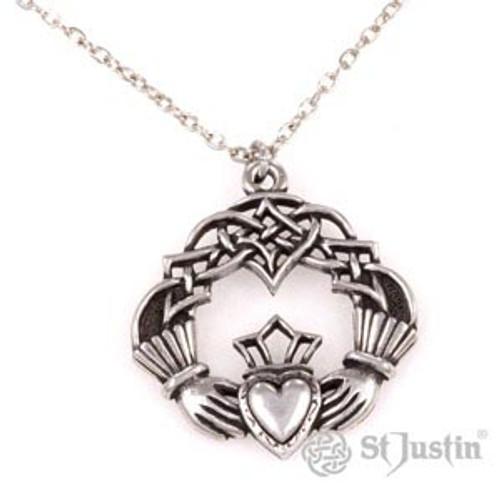 Claddagh Celtic Knot Pendant Necklace