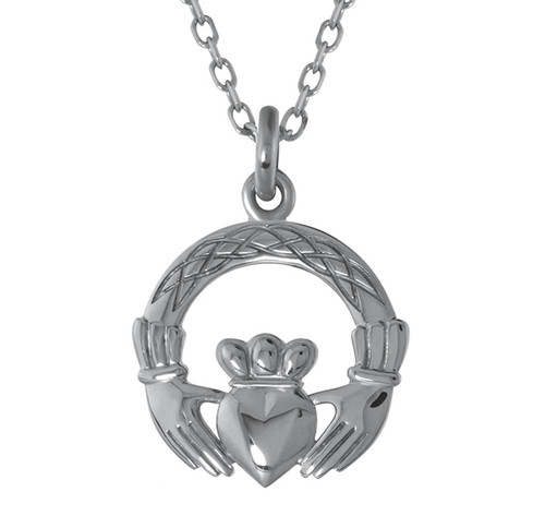 Claddagh with Celtic Interlace Necklace Pendant