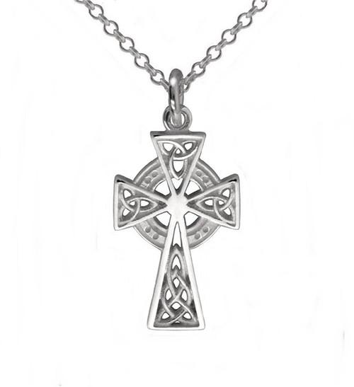 Medium Celtic Cross with Trinity Knots Necklace Pendant
