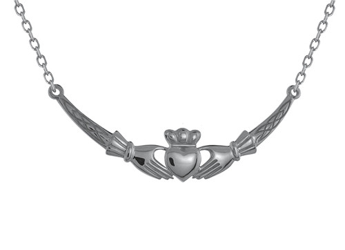 Claddagh with Celtic Weave Necklace Pendant