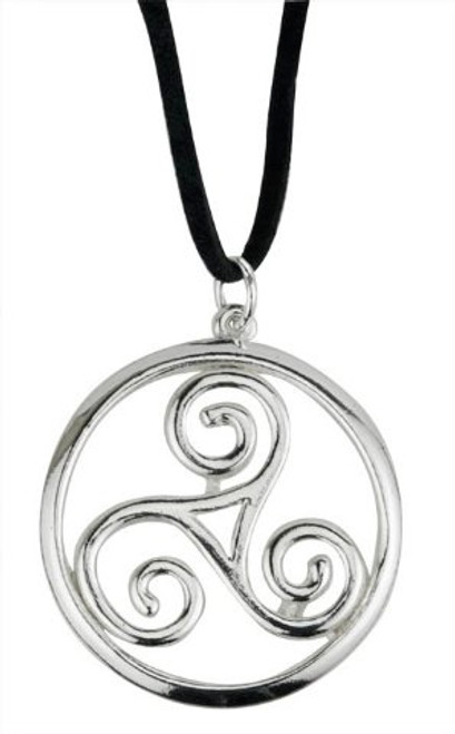 Celtic jewelry mixed metals celtic spiral pendant necklace on cord celtic spiral pendant necklace on cord aloadofball Images